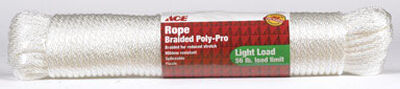 Ace 1/4 in. Dia. x 100 ft. L Braided Poly Rope White