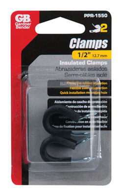 Gardner Bender 1/2 in. Dia. Steel and Rubber Rubber Steel Clamps 2 pk