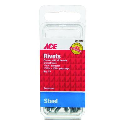Ace 1/8 in. Dia. x 1/8 in. Steel Rivets 25 pk