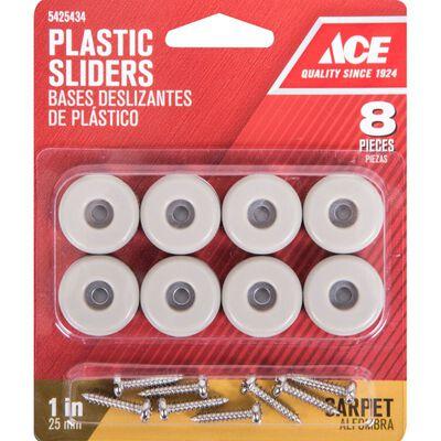 Ace Plastic Round Slide Glide Off-White 1 in. W 8 pk