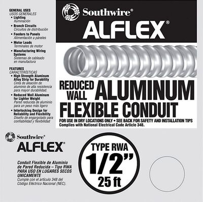 Southwire 1/2 in. Dia. x 25 ft. L Flexible Electrical Conduit FMC Aluminium