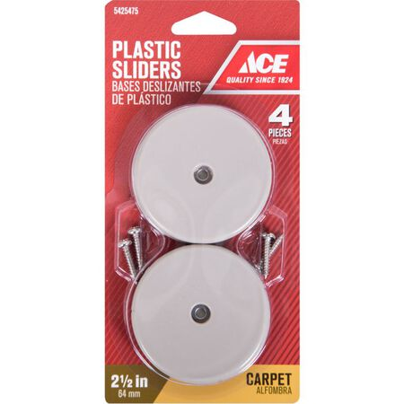 Ace Plastic Round Slide Glide Off-White 2-1/2 in. W 4 pk
