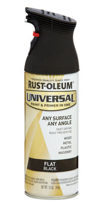 Rust-Oleum Universal Paint & Primer in One Black Flat Enamel Spray 12 oz.