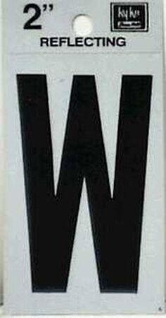 Hy-Ko Self-Adhesive Black 2 in. Reflective Vinyl Letter W