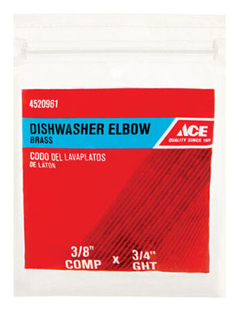 Ace 3/8 in. Dia. x 3/4 in. Dia. Compression To FHT 90 deg. Schedule 40 Brass Dishwasher Elbow