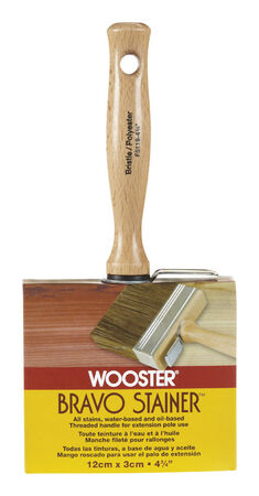 Wooster Bravo Stainer 4 3/4 in. W Flat Polyester and White China Bristle Paint Brush