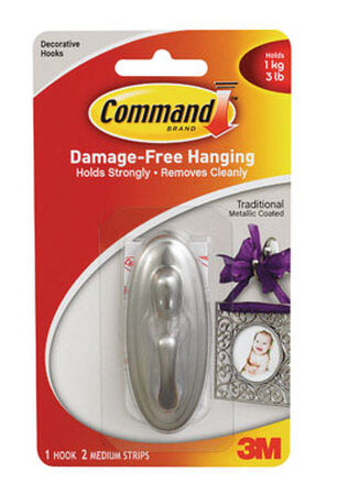 3M Command Medium Traditional Hook 3-1/8 in. L Plastic 3 lb. 1 pk