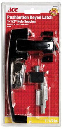 Ace Interior Steel Black Push Button Keyed Latch