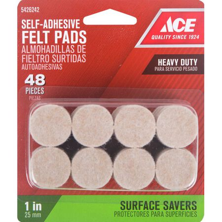 Ace Felt Round Self Adhesive Pad Brown 1 in. W 48 pk