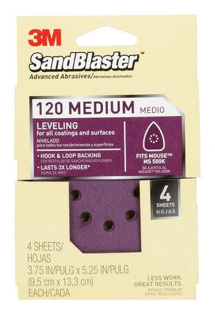 3M Sandblaster Mouse Sandpaper 5-1/4 in. L 120 Grit Medium 4 pk