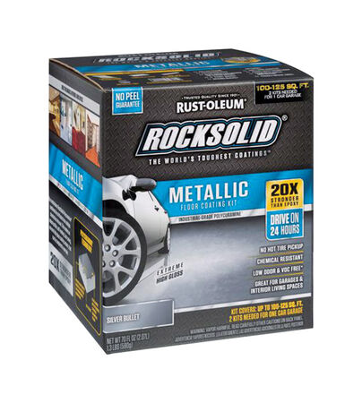 Rust-Oleum RockSolid Floor Coating Kit Extreme High Gloss Silver Bullet 70 oz.