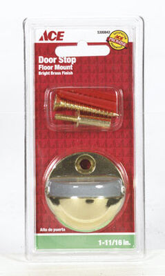 Ace Metal Floor Mount Door Stop 1-3/8 in. H Bright Brass