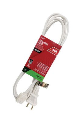 Ace 18/2 SPT - 2 125 volts Appliance Cord 6 ft. L White