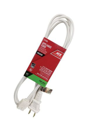 Ace 18/2 SPT - 2 125 volts Appliance Cord 6 ft. L White