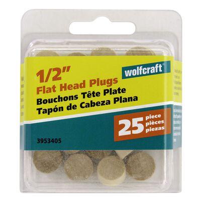 Wolfcraft Flat Hardwood Head Plug 1/2 in. Dia.