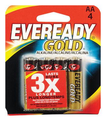 Energizer Eveready Gold AA Alkaline Batteries 1.5 volts 4 pk