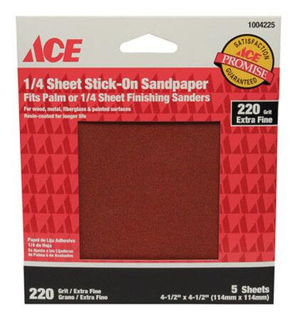 Ace Aluminum Oxide Sandpaper 4-1/2 in. L 220 Grit Extra Fine 5 pk