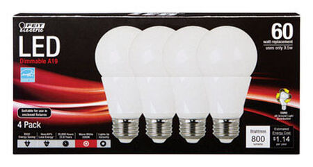 FEIT Electric LED Bulb 9.5 watts 800 lumens 3000 K A-Line A19 60 watts equivalency Medium Base (