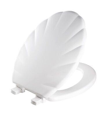 Mayfair Never Loosens Elongated White Molded Wood Toilet Seat
