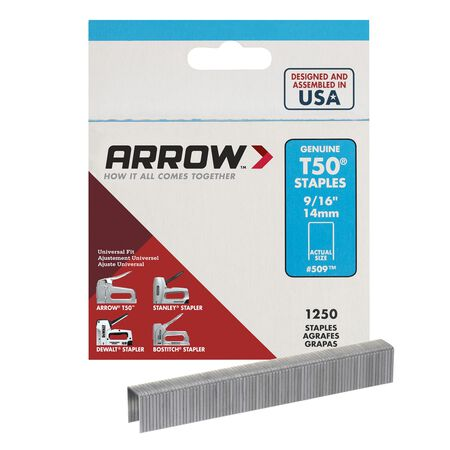 Arrow T50 Wide Heavy Duty Staples Gray 9/16 in. L
