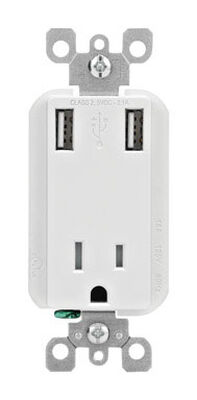 Leviton Decora Receptacle and USB Charger 15 amps 5-15R White