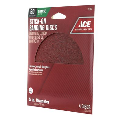 Ace 5 in. Dia. Sanding Disc 60 Grit Coarse Adhesive 4 pk