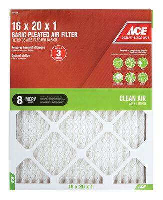 Ace 20 in. L x 16 in. W x 1 in. D Pleated Air Filter 8 MERV
