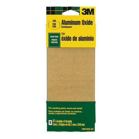 3M Aluminum Oxide Sandpaper 9 in. L 150 Grit Fine 6 pk