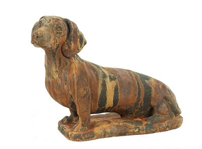 Dachshund Dog Statue Rust
