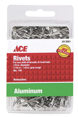 Ace 1/8 in. Dia. x 1/8 in. Aluminum Rivets 100 pk