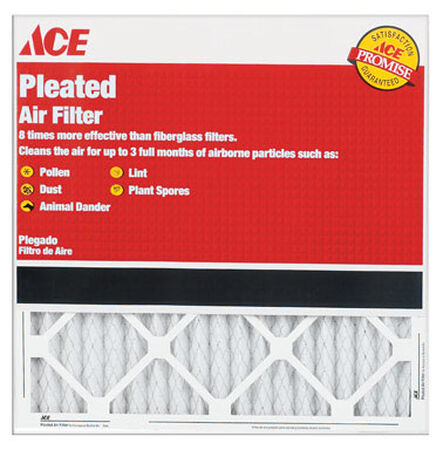 Ace 30 in. L x 18 in. W x 1 in. D Pleated Air Filter 8 MERV