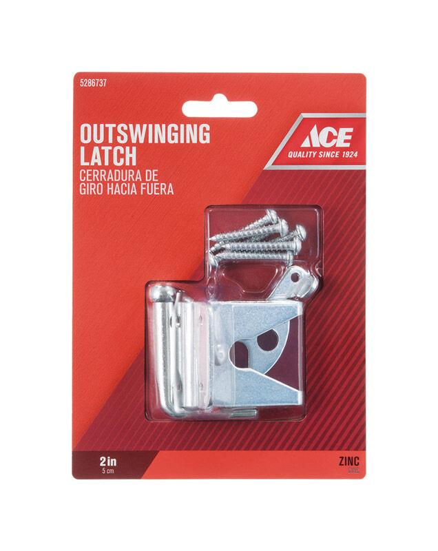 Ace Gate Latch Outswing 2 in  x 1-3/4 in  For gates Shed/Barn Doors or  Animal Pens Zinc Zinc
