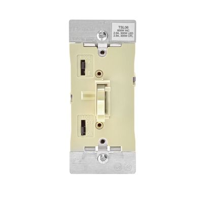 Leviton 2.5 amps 600W-120VAC Incandescent Toggle Dimmer Switch Ivory
