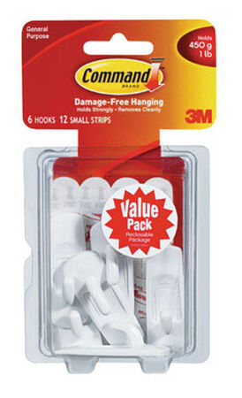 3M Command Small Utility Hook 2-3/8 in. L Plastic 1 lb. per Hook 6 pk