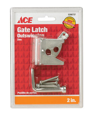 Ace Gate Latch Outswing 2 in. x 1-3/4 in. For gates Shed/Barn Doors or Animal Pens Zinc Zinc