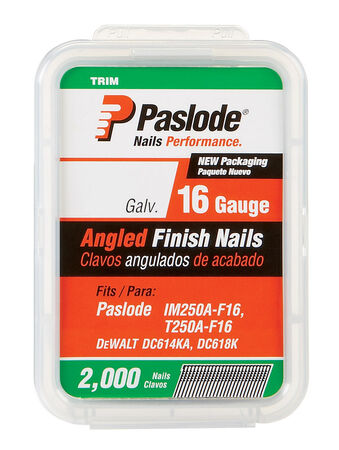 Paslode 1-1/2 in. L 16 Ga. Galvanized Angled Finish Nails 2 000 pk