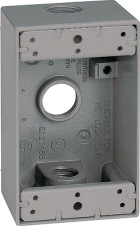 Sigma 4-1/2 in. H Rectangle 1 Gang Outlet Box 1/2 in. Gray Aluminum