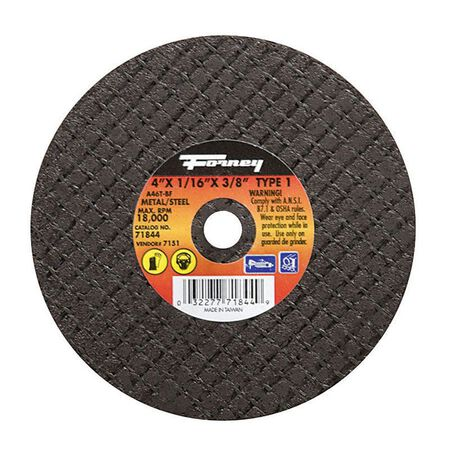 Forney 4 in. Dia. x 1/16 in. thick x 3/8 in. Metal Cut-Off Wheel