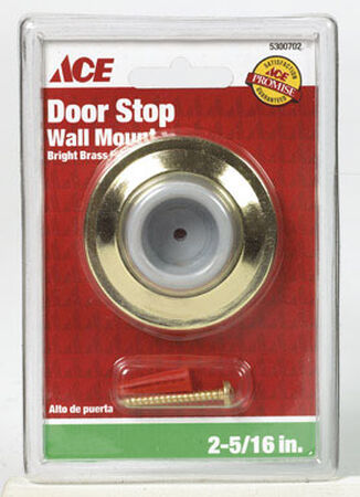 Ace Brass Wall Door Stop 2-5/16 in. L Bright Yellow
