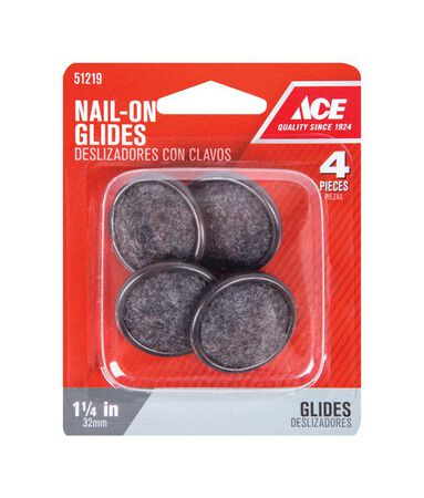 Ace 1.25 in. Dia. x 1.25 in. W Nylon / Carpet Nail-On Glide with Carpet Base 4