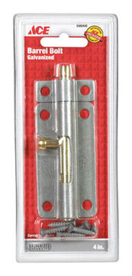 Ace Barrel Bolt 4 in. Galvanized For Lightweight Doors Chests and Cabinets