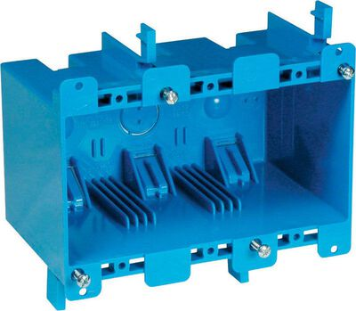 Carlon 5-3/4 in. H Rectangle 3 Gang Outlet Box Blue PVC