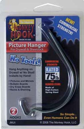 Monkey Hook 40 lb. Steel Gorilla Picture Hanger 2 pk