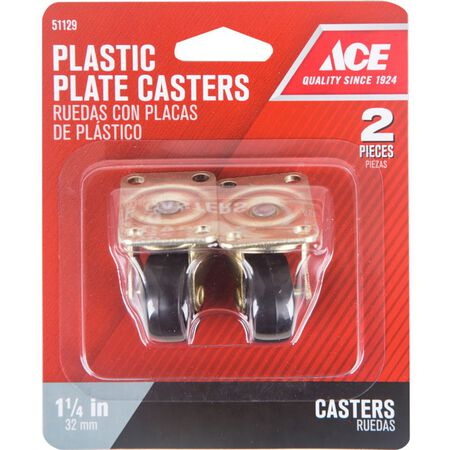 Ace Plastic Caster Wheel with Plate 1-4/5 in. H x 1-4/5 in. W x 1-1/4 in. Dia. 40 lb. Black 2 pk
