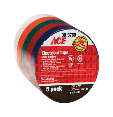 Ace 1/2 in. W x 20 ft. L Electrical Tape Multicolored