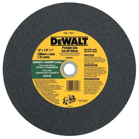 "12"" x 1/8"" x 1"" Concrete/Masonry Portable Saw Cut-Off Wheel"