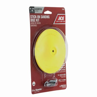 Ace 5 in. Dia. Sanding Disc Kit Assorted Adhesive 4 pc.