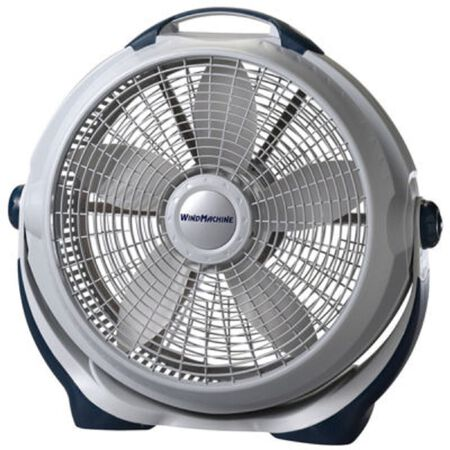 Lasko Wind Machine Floor Fan 23-3/8 in. H x 25-3/8 in. L x 7-3/16 in. W 3 speed AC 5 blade Gray