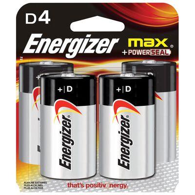 Energizer Max D Alkaline Batteries 1.5 volts 4 pk