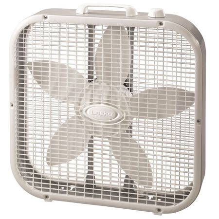 Lasko Box Fan 21-3/4 in. H x 20-1/2 in. L x 4-3/8 in. W 3 speed AC 5 blade White